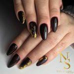 paznokcie, manicure, gold, migdał