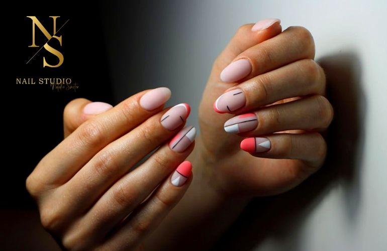 geometryczne paznokcie, geometryczny wzór na paznokciach, paznokcie neon, lakier neon na paznokciach, wzory na paznokcie